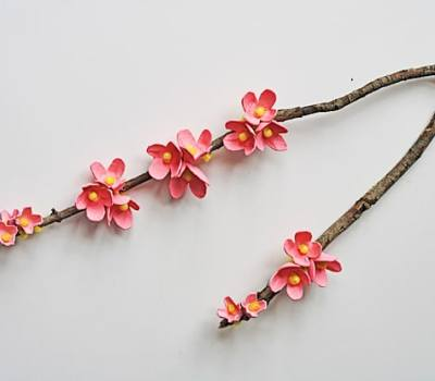 Cherry blossom branches made from upcycled egg cartons via Crafts by Amanda
