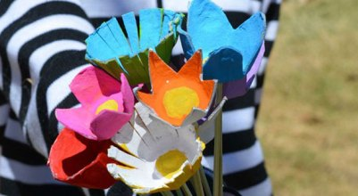 Upcycled egg carton bouquet of flowers via CBC Parents
