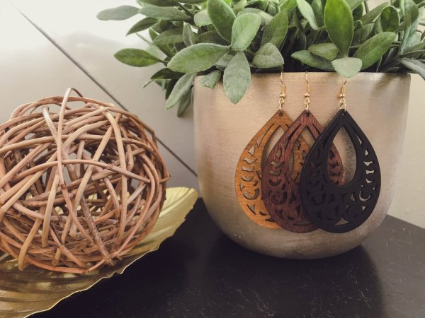 These laser cute wooden teardrop earrings beg for ALL the compliments. They are ultra light as well!