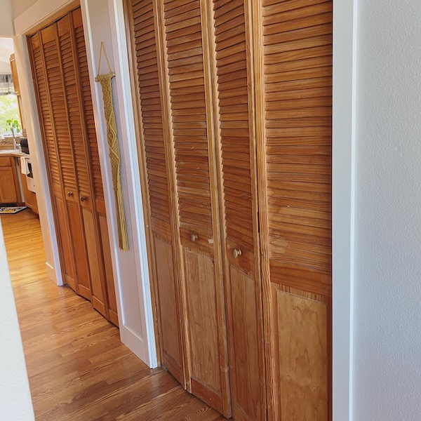 our pantry doors - old louvered bifold doors