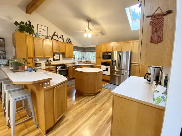 Our current kitchen. It's big, but dated! Definitely a candidate for kitchen remodel design intervention.