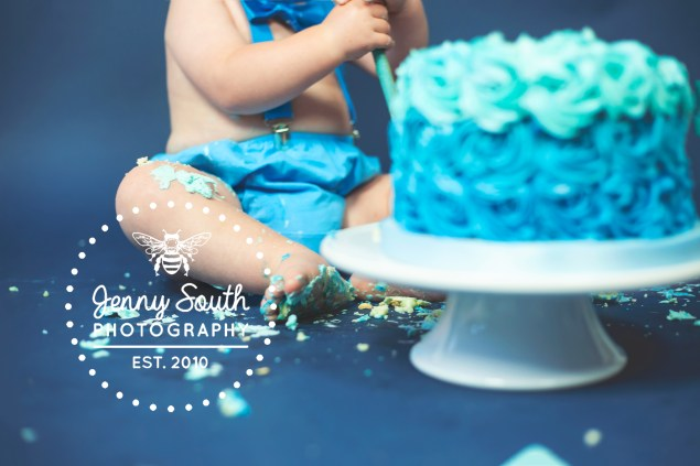 A messy scene of cake and icing from a cake smash shoot at our Plymouth Studio