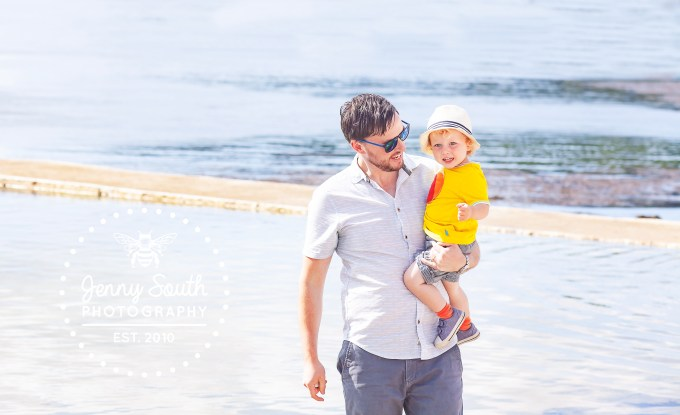 A father and son spend some quality time together at Firestone bay in Plymouth