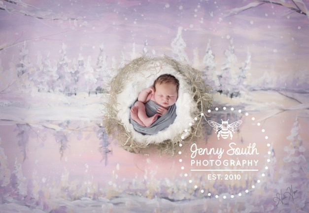 Baby sleeps in a comfy nest against a hand painted winter scene art work