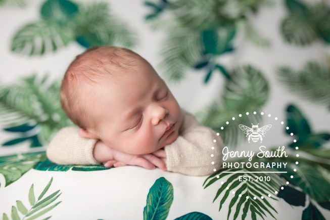 A baby lies sleeping on a leaf green botanical fabric background during her newborn session