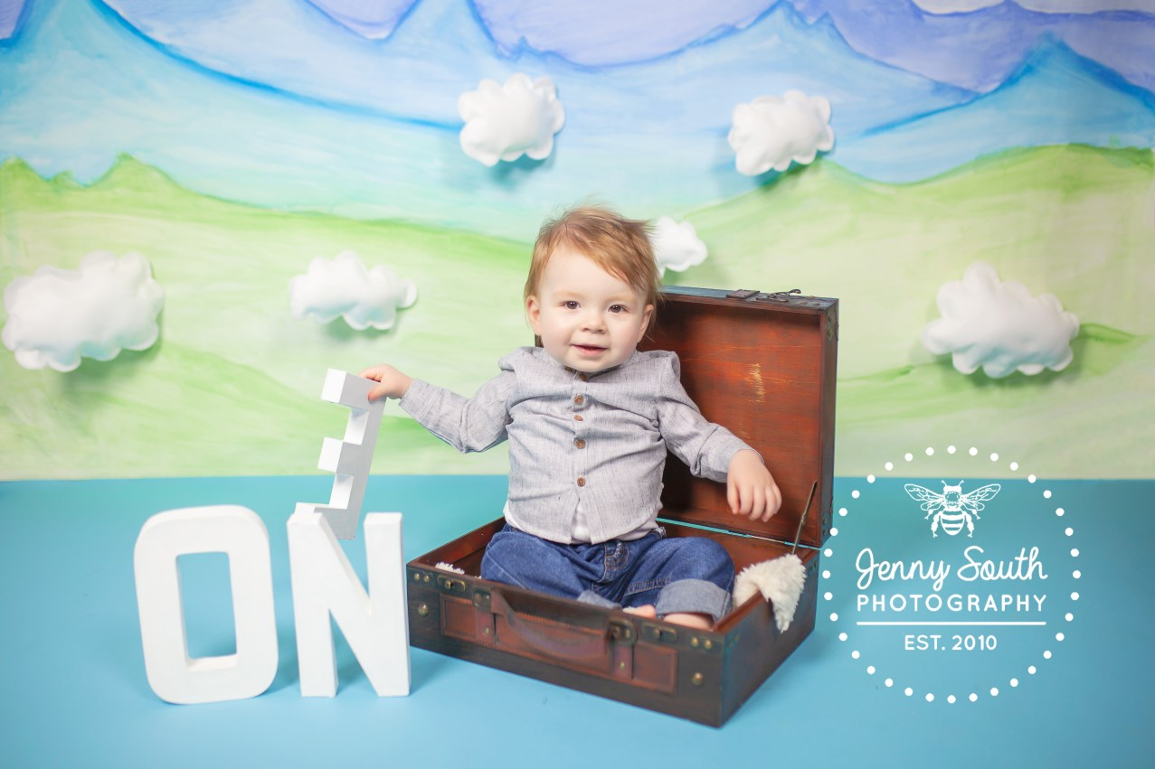 A baby boy sits in a vintage leather suitcase against a backdrop of blue and green mountains and fluffy white clouds.
