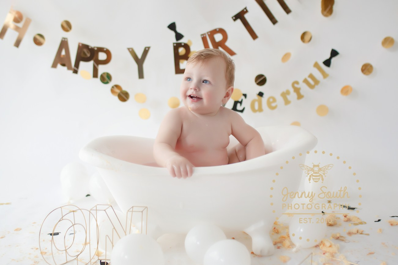 Mr Onederful himself enjoying a splashing good time on our roll top bath during his first birthday cake smash photo session.