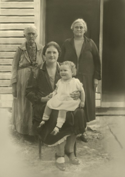 Four generations of women on the Emig/Comer side of the family in a post about writing and heredity