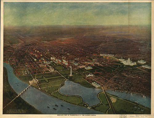 1929 Bird's Eye View of Washington DC