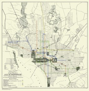 Washington DC streetcar map from 1891