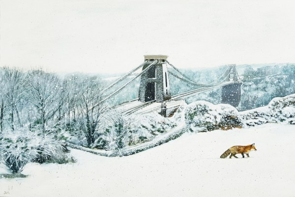 A fox walking through the snow near Clifton Suspension Bridge by Jenny Urquhart