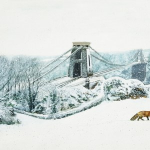 A fox walking through the snow near Clifton Suspension Bridge by Jenny Urquhart