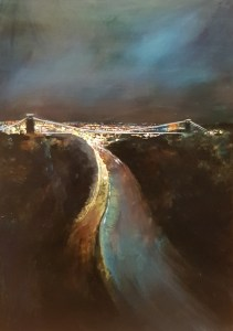 Bristol lit up at night with the city glowing by Jenny Urquhart