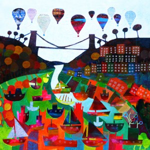 Bristol landmarks hot air balloons and boats in the harbour by Jenny Urquhart