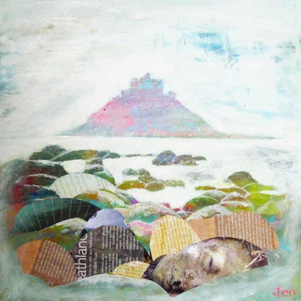 cornish rocks with st michaels mount by jenny urquhart