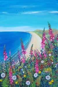 rhossili in south wales with foxgloves and dandelions by jenny urquhart