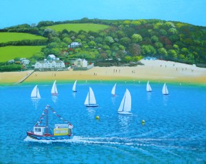 salcombe ferry boat in the estuary on a sunny day by Jenny urquhart
