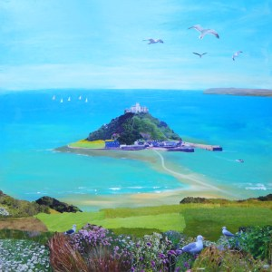 st michaels mount with seagulls by jenny urquhart
