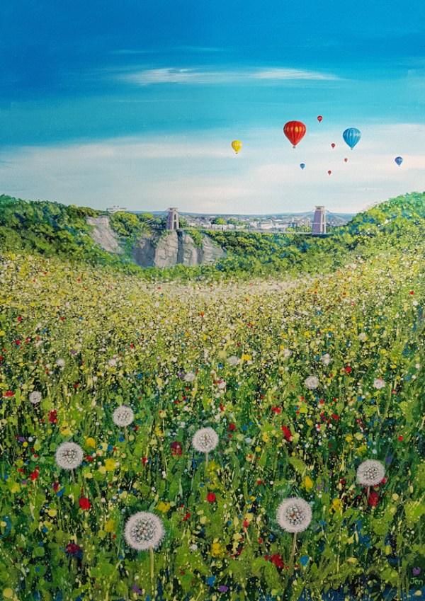dandelions in a meadow clifton suspension bridge by Jenny Urquhart