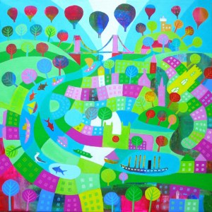 Summer on the river with boats and hot air balloons by Jenny Urquhart
