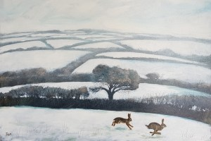 two hares chasing each other through snowy fields by Jenny Urquhart