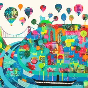 Bristols colourful landmarks under hot air balloons by Jenny Urquhart