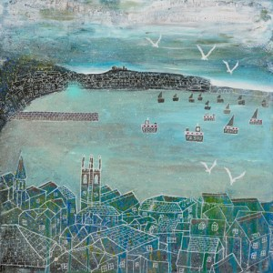 St ives on a grey day with seagulls in the sky by jenny urquhart