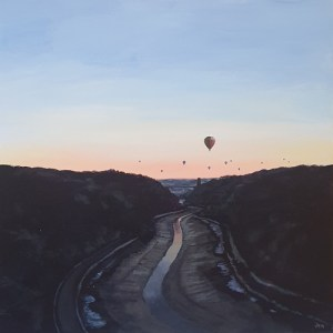 quiet flight of hot air balloons floating over the clifton suspension bridge by jenny urquhart