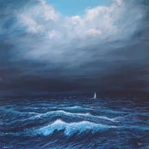 a sailing boat rides strom waves in the sea by jenny urquhart