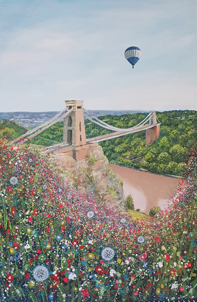 spring flowers at clifton suspension bridge by jenny urquhart