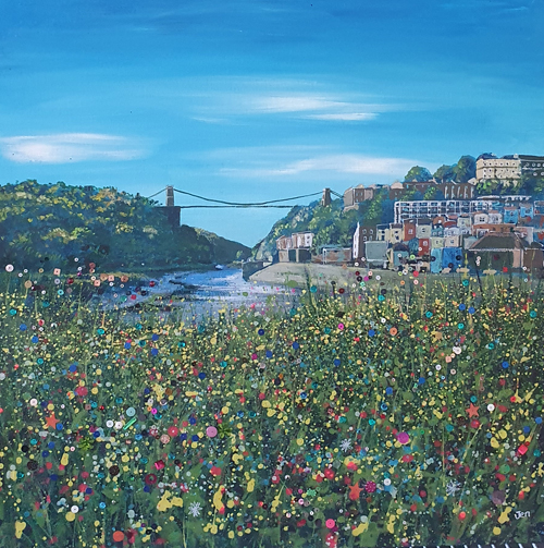bristol in bloom with flowers the clifotn suspension bridge and blue sky by jenny urquhart