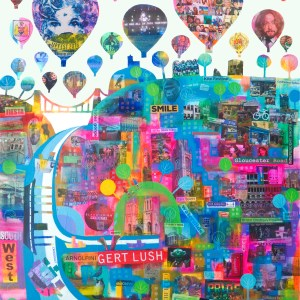 Bristols landmarks and people in a colourful poster by Jenny Urquhart