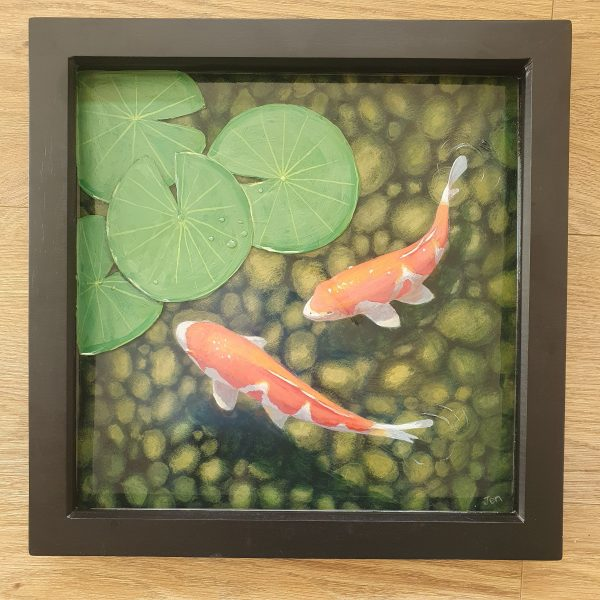 koi carp in a pond with lily leaves by Jenny Urquhart