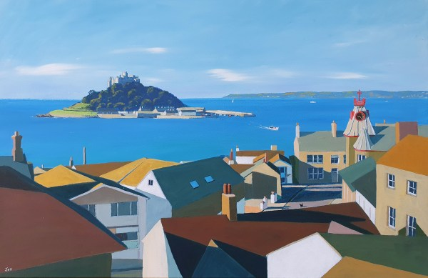 Marazion rooftops with Inky the act by Jenny Urquhart
