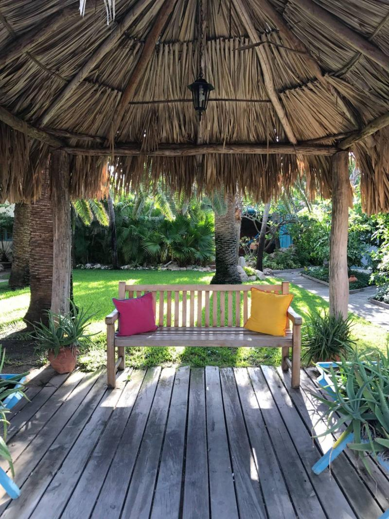 Thatched gazebo on the property