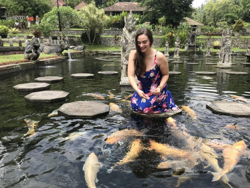 Feeding fish in Bali
