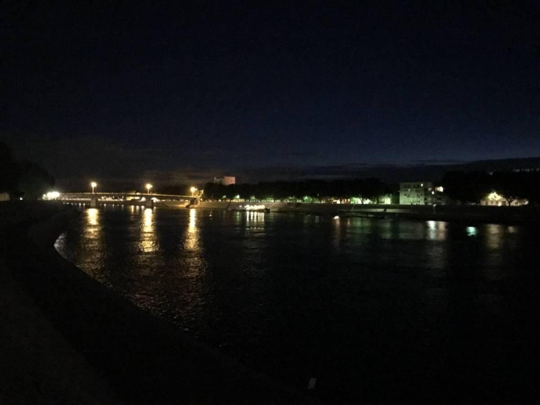 View of the Rhone at night