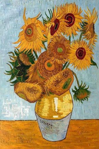 Vase of sunflowers painted by Van Gogh