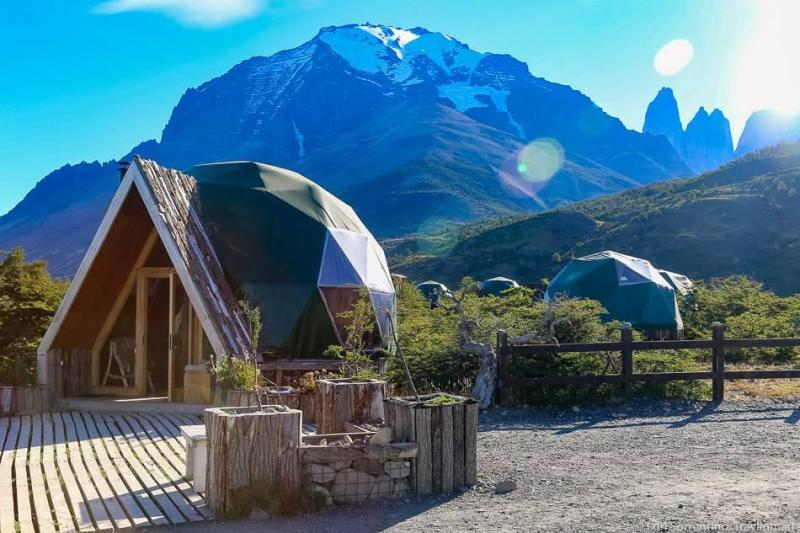 Glamping dome with mountains in the background