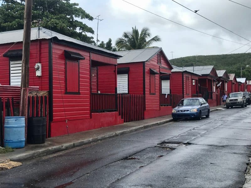 Red houses in a line