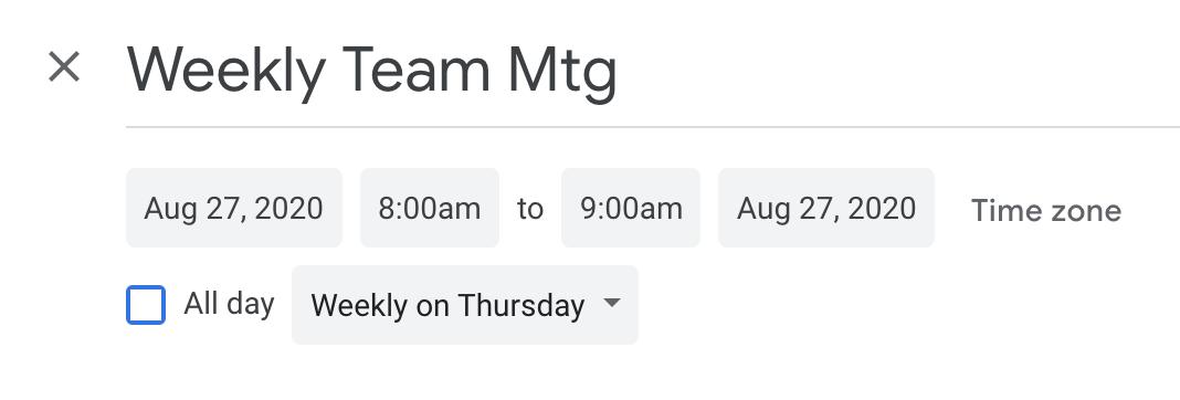 Team meeting on Google calendar