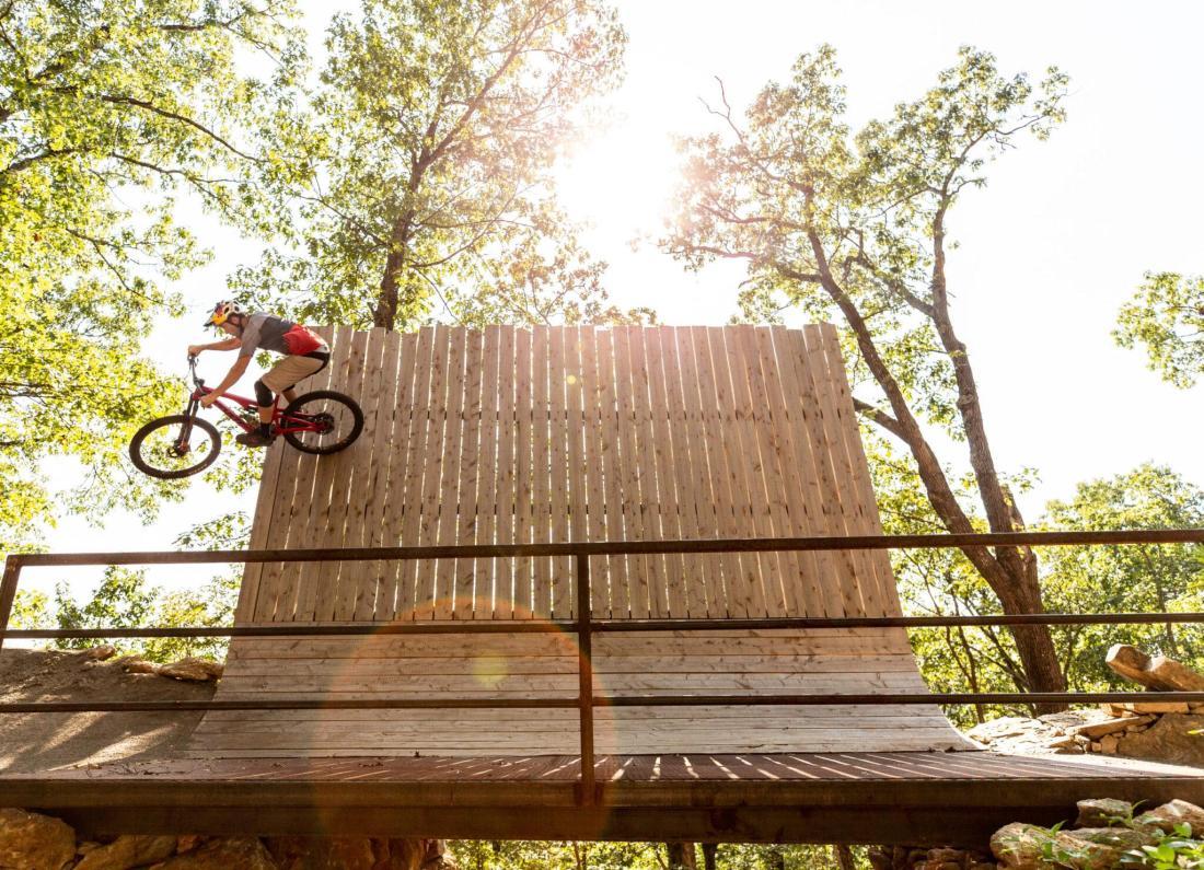 Extreme biking on ramp