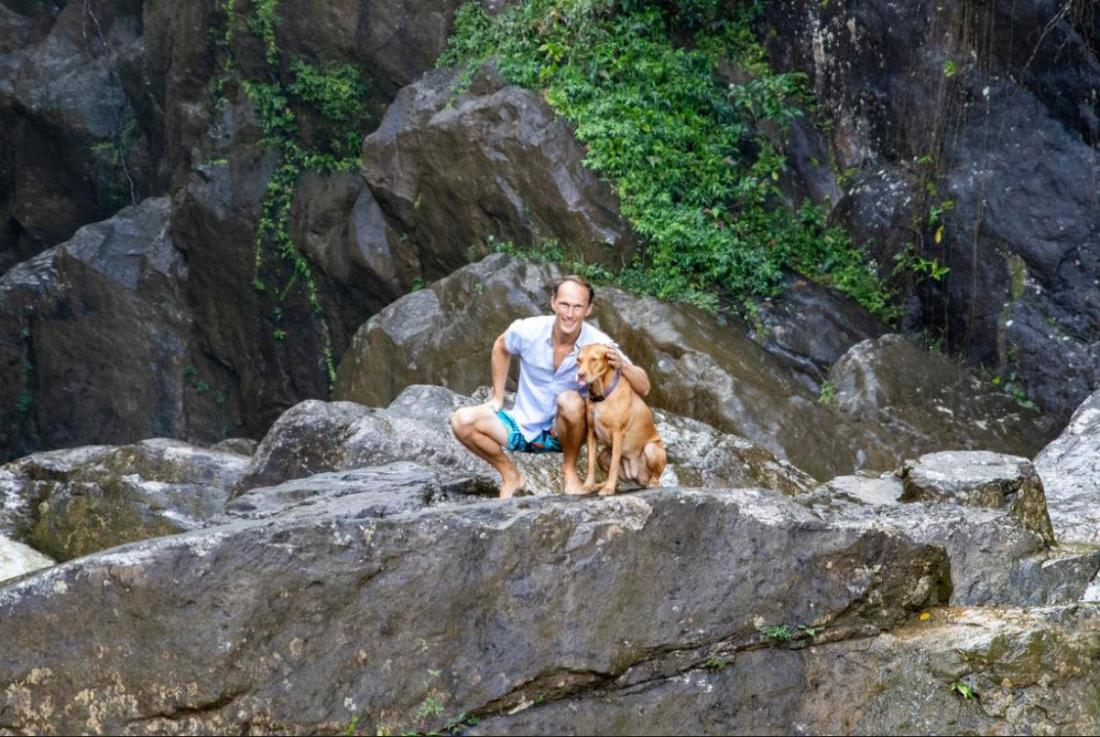 Man and dog in nature