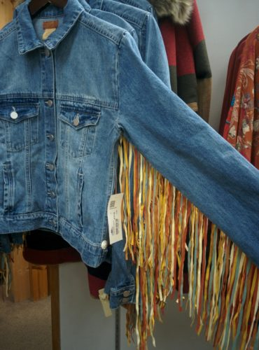denim shirt with colorful fringe on sleeves fm light store steamboat springs co jenphotographs