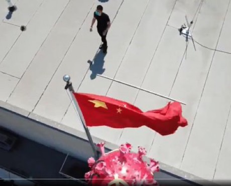 洛杉矶中领馆上空出现冠状病毒 Coronavirus flows above Chinese consulate in Los Angeles