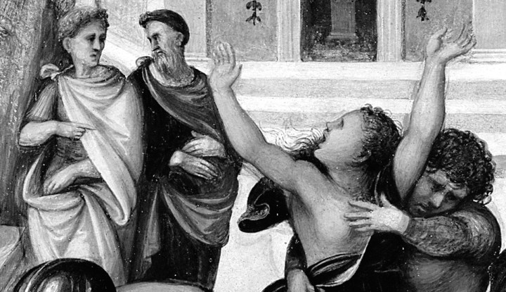 "Black and white detail from an oil painting titled ""Rape of the Sabines"". Image includes a woman pointing out to a man that a woman is being grabbed. The woman being grabbed looks anguished, and a man is touching her bare breast."