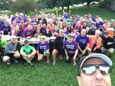 Team in Training group selfie. Coach Mike has perfected his camera technique this season! (I'm kneeling in the front row with sunglasses and green hat.)
