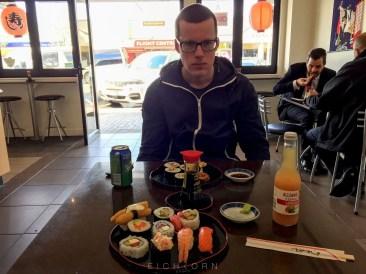 Sushi with Hugh.