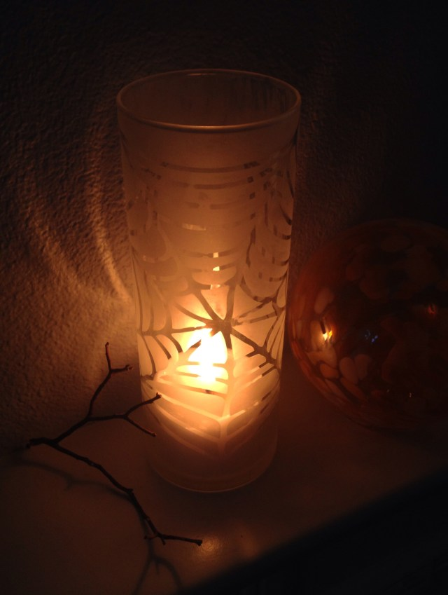 Etched Spiderweb Cylinder with Candle