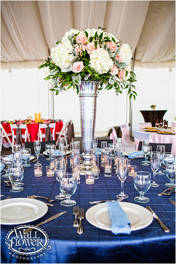 Elevated Arrangement in Silver Vase by Jen's Blossoms | Photo by: Wallflower Photography